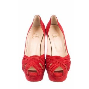 Christian Louboutin red platform pumps size 8.5